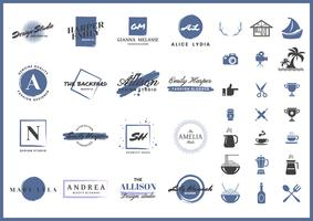 logo vettoriale retrò femminile per banner