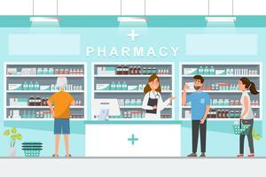 farmacia con farmacista e cliente in bancone