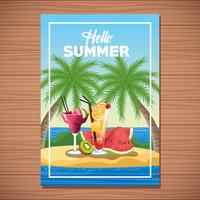 Ciao poster di carta estiva con cartoni animati vettore