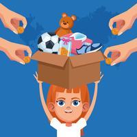 Donazione e beneficenza per bambini vettore