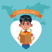 La carità è un cartone animato d'amore vettore
