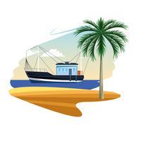 cartone animato barca da pesca vettore
