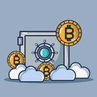 tecnologia di sicurezza della moneta digitale bitcoin vettore