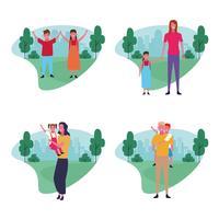 set di avatar del gruppo familiare