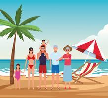vacanza in spiaggia famiglia vettore