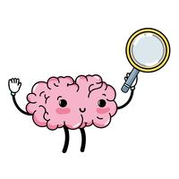 Kawaii cervello felice con lente d'ingrandimento