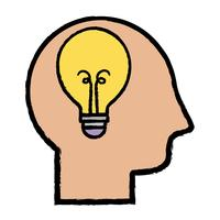 sagoma uomo con design idea lampadina