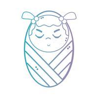 linea bambina carina con coperta e acconciatura vettore