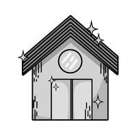 casa pulita in scala di grigi con tetto e porta design vettore