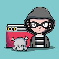 hacker di persona al programmatore di virus nel sistema vettore