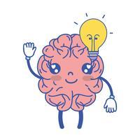 Kawaii cervello felice con idea lampadina