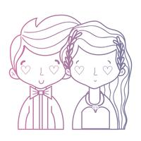 linea bellezza coppia sposata con design acconciatura vettore