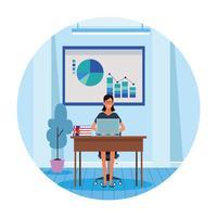 donna lavoratore nella scrivania del computer