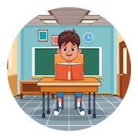 Libro di lettura del bambino in aula vettore