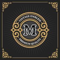 Design vintage modello di banner di lusso per etichette, telaio, tag prodotto. Emblema retrò design. Illustrazione vettoriale