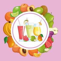 frullati con cornice rotonda di frutta