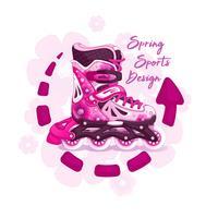 Pattini a rotelle per la ragazza. Motivo femminile primaverile. Stile sportivo. L'emblema con un'iscrizione e uno sfondo di fiori.