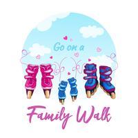 Illustrazione di una camminata della famiglia sui pattini di rullo. Pattini da donna, da uomo e da bambino legati con lacci contro un cielo blu