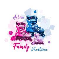 Pattini a rotelle per uomo, donna e bambino. Sport all'aperto per famiglie per persone attive. Illustrazione vettoriale