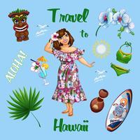 Estate hawaiana con una bella ragazza turistica e souvenir. Orchidea, tamburo di Hula, cocktail sulla spiaggia, tavola da surf. Cartoni animati vettoriali adesivi.