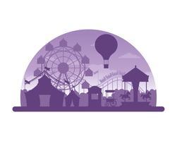 Circus festival fair silhouette scenario vettore