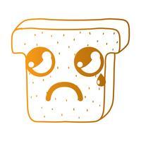 linea kawaii simpatica fetta di pane piangente