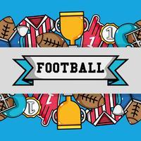 strumenti di football americano con sfondo messaggio nastro