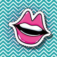 disegno di patch bocca pop art vettore
