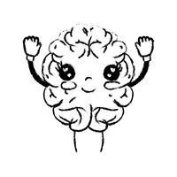 figura kawaii carina felice cervello con braccia e gambe