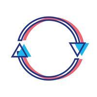 frecce di colore nel cerchio simbolo dell'avanzamento del caricamento