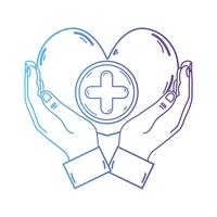 linea mani con il simbolo della medicina del cuore per aiutare le persone
