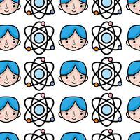 atomo di orbita di fisica con sfondo di studente ragazzo vettore