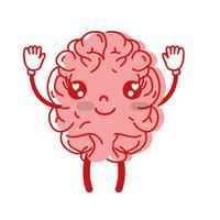 Kawaii carino cervello felice con braccia e gambe