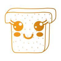 linea kawaii simpatica fetta di pane