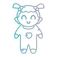 linea bella bambina con pijama e acconciatura vettore