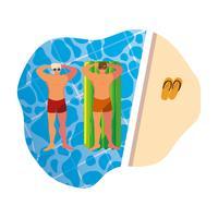 giovani con costume da bagno e materasso galleggiante in acqua vettore