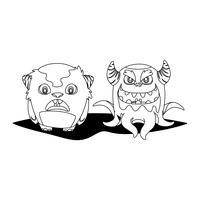 mostri divertenti coppia personaggi comici monocromatici
