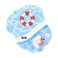 bordo piscina con galleggiante e scena del cappello vettore