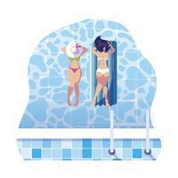 belle ragazze con materasso galleggiante galleggianti in acqua
