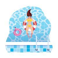 donna con costume da bagno e bagnino galleggiante galleggiante in acqua