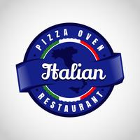 Logo italiano Blue Pizza vettore