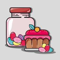 caramelle dolci e cupcake vettore