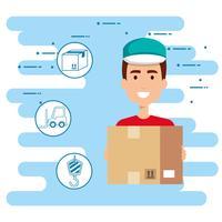 operaio di consegna con icone set