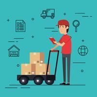 operaio di consegna con carattere di scatole di carrello vettore