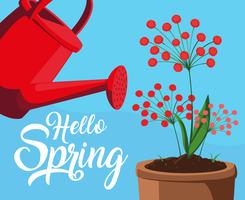 ciao carta di primavera con fiori rossi e vaso di plastica antincendio vettore