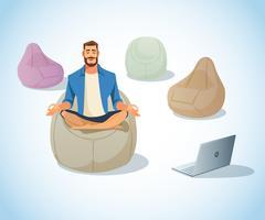 Libero professionista che medita su un sacchetto di fagiolo