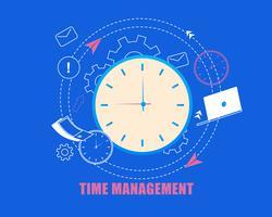 Cartone animato piatto di gestione del tempo