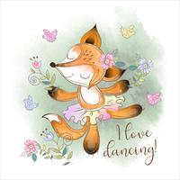 Carino ballerina Fox che balla vettore