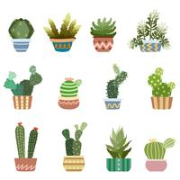 Cactus nel set di pentole vettore