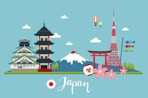 Paesaggio di viaggio in Giappone vettore